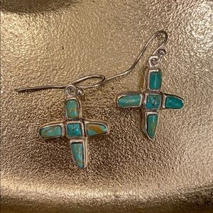 Silver and genuine turquoise earrings